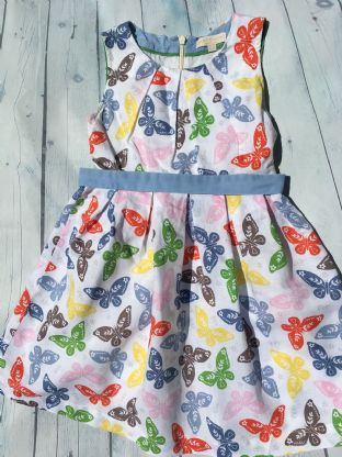 Mini Boden multi-coloured butterfly dress with netting under skirt age 6-7